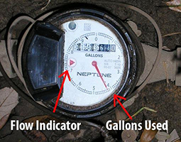 california landings, fontana water meter leak